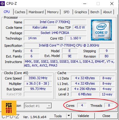 cpu z intel core i7 7700HQ