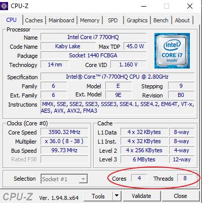 cpu-z intel core i7-7700HQ