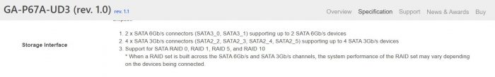 sata ports motherboard specifications