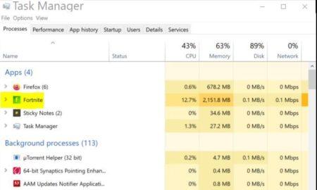 Fornite RAM usage