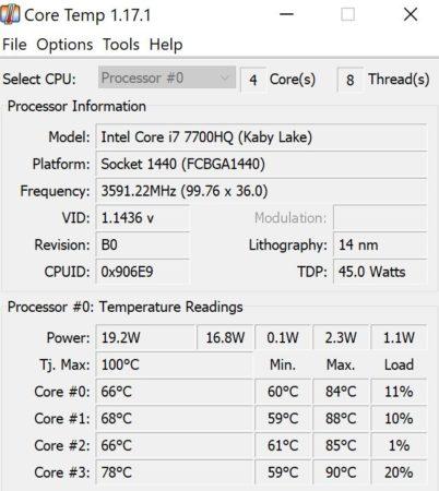 Intel Core i7-7700HQ Core Temp
