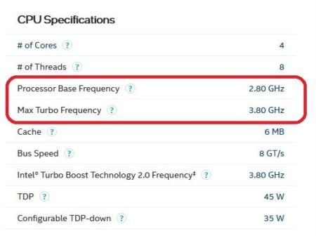 Intel Core i7 7700HQ base and turbo frequency